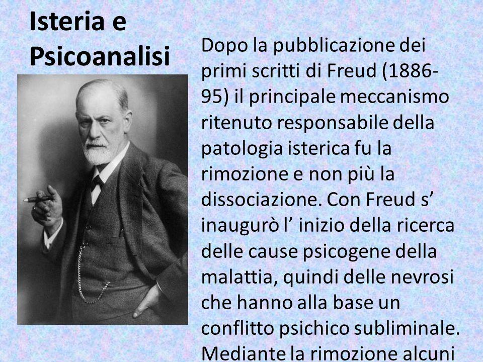 Isteria e Psicoanalisi Dopo la pubblicazione dei primi scritti di Freud (1886- 95) il principale meccanismo ritenuto responsabile della patologia iste
