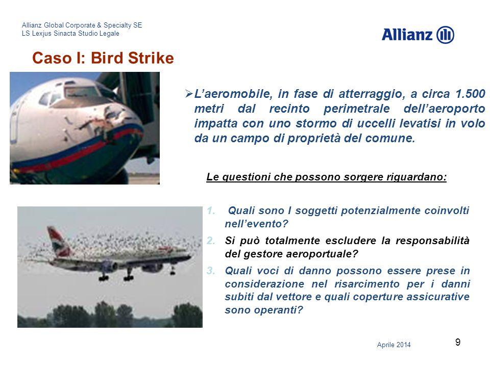 10 Allianz Global Corporate & Specialty SE LS Lexjus Sinacta Studio Legale Aprile 2014 Caso II: Responsabilità del vettore o responsabilità dell'operatore aeroportuale.