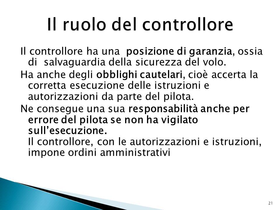 Il controllore ha una posizione di garanzia, ossia di salvaguardia della sicurezza del volo.