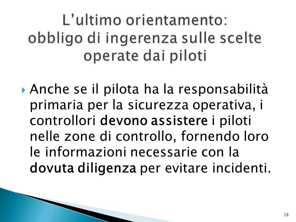  Anche se il pilota ha la responsabilità primaria per la sicurezza operativa, i controllori devono assistere i piloti nelle zone di controllo, fornendo loro le informazioni necessarie con la dovuta diligenza per evitare incidenti.