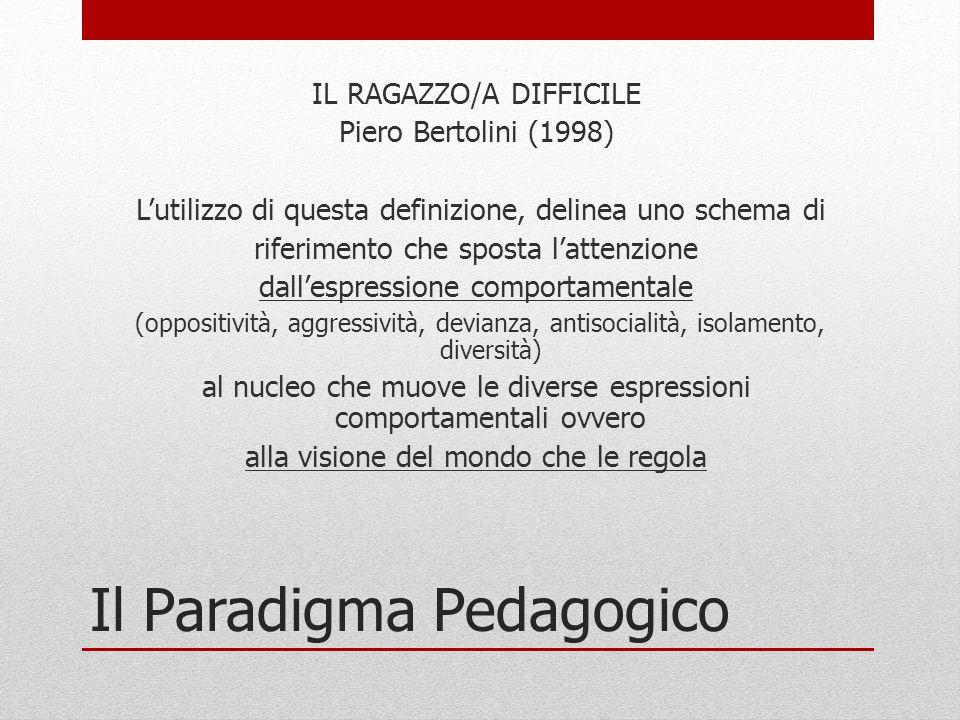 Il Paradigma Pedagogico IL RAGAZZO/A DIFFICILE Piero Bertolini (1998) L'utilizzo di questa definizione, delinea uno schema di riferimento che sposta l