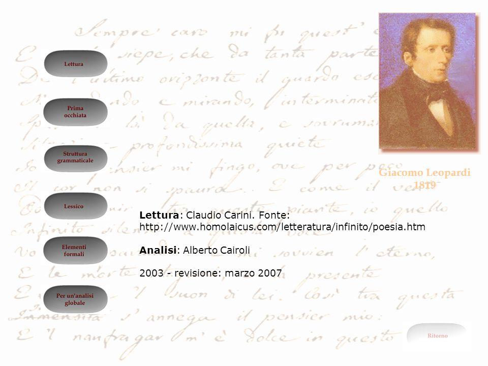 Giacomo Leopardi 1819 Lettura: Claudio Carini. Fonte: http://www.homolaicus.com/letteratura/infinito/poesia.htm Analisi: Alberto Cairoli 2003 - revisi