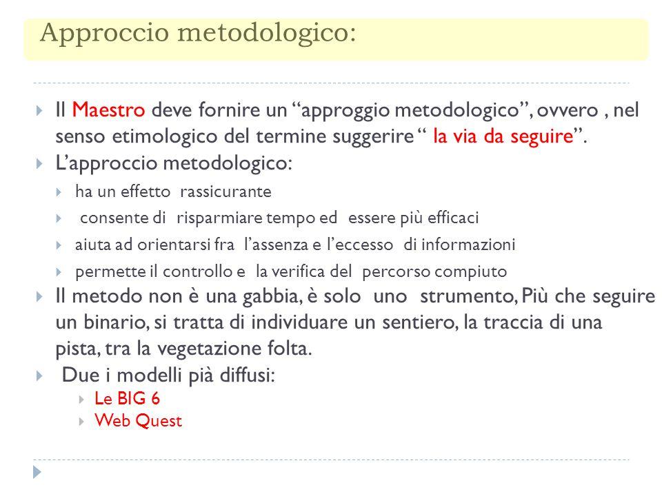 """Approccio metodologico:  Il Maestro deve fornire un """"approggio metodologico"""", ovvero, nel senso etimologico del termine suggerire """" la via da seguire"""