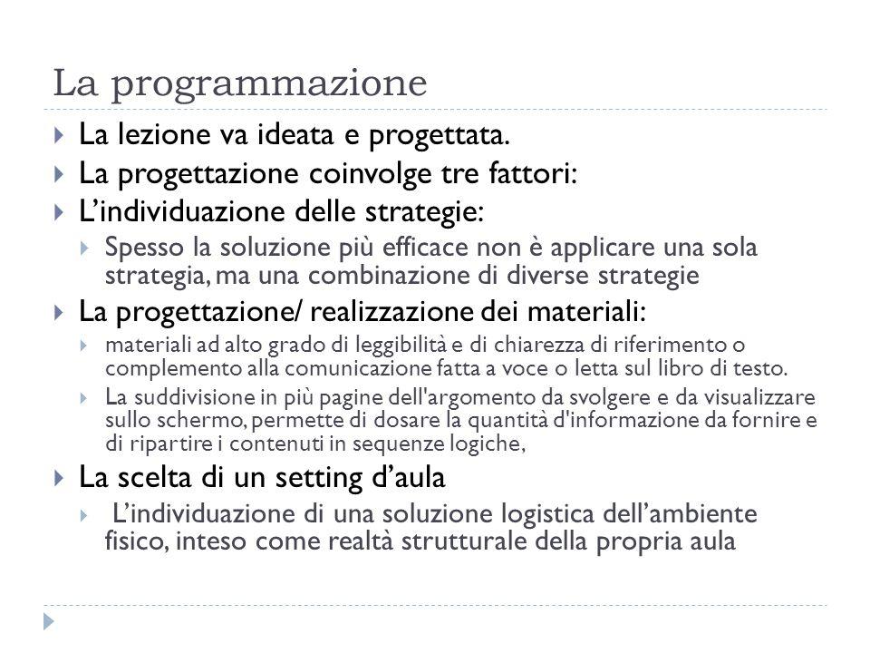 La programmazione  La lezione va ideata e progettata.  La progettazione coinvolge tre fattori:  L'individuazione delle strategie:  Spesso la soluz