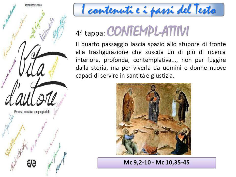 I contenuti e i passi del Testo CONTEMPL-ATTIVI 4ª tappa: CONTEMPL-ATTIVI Il quarto passaggio lascia spazio allo stupore di fronte alla trasfigurazion