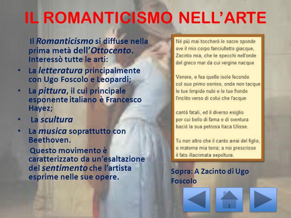 IL ROMANTICISMO NELL'ARTE Il Romanticismo si diffuse nella prima metà dell'Ottocento. Interessò tutte le arti: La letteratura principalmente con Ugo F
