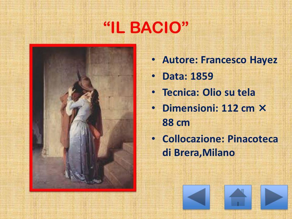 """""""IL BACIO"""" Autore: Francesco Hayez Data: 1859 Tecnica: Olio su tela Dimensioni: 112 cm × 88 cm Collocazione: Pinacoteca di Brera,Milano"""