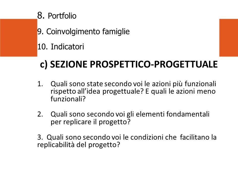8. Portfolio 9. Coinvolgimento famiglie 10. Indicatori c) SEZIONE PROSPETTICO-PROGETTUALE 1.Quali sono state secondo voi le azioni più funzionali risp
