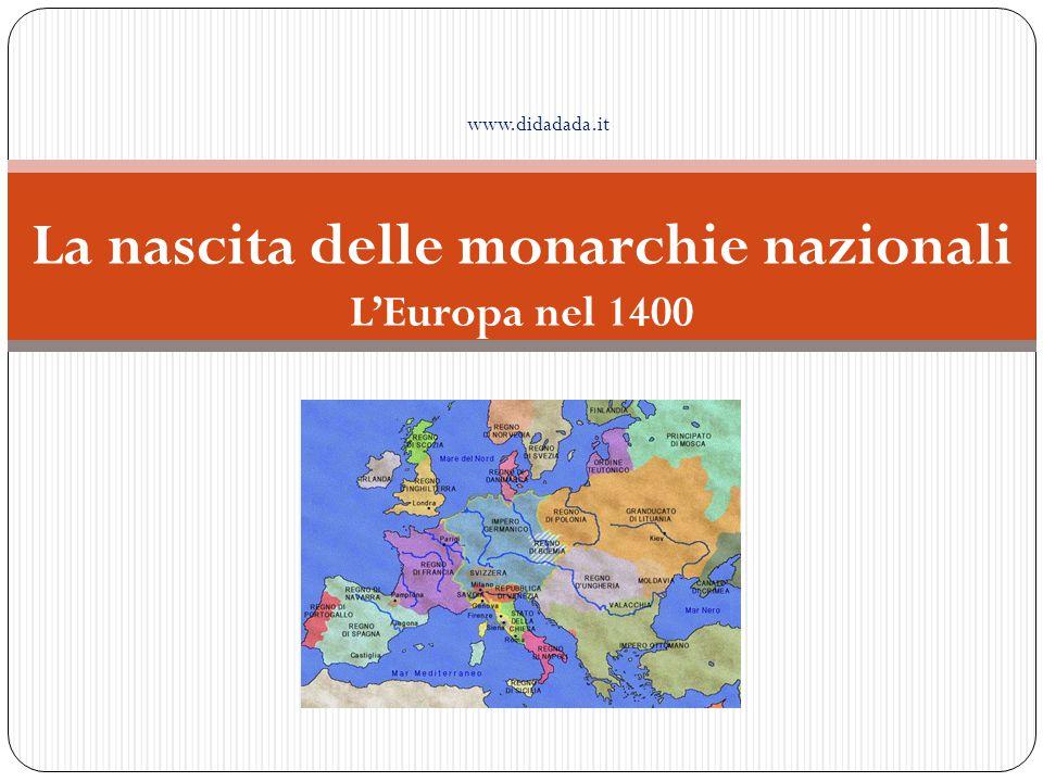 Europa occidentale Si afferma la monarchia dinastica Nascono gli stati nazionali Europa centrale Stati regionali politicamente deboli L' Europa nel '400 Europa orientale Stati feudali