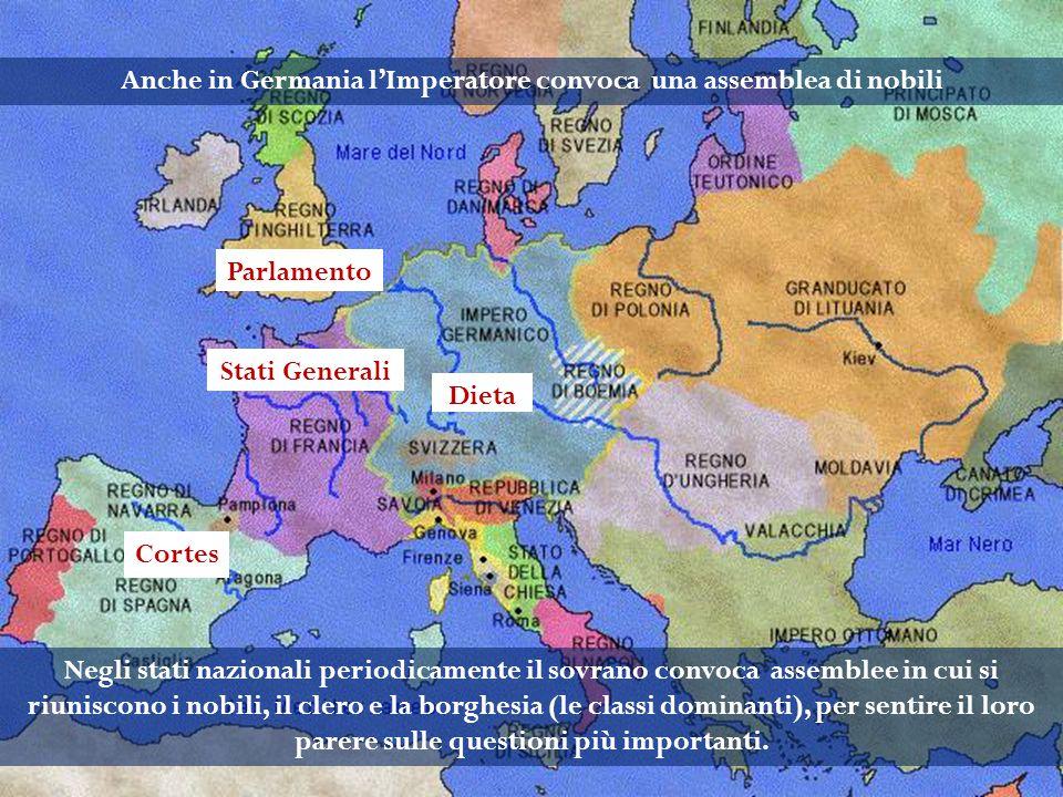 Negli stati nazionali periodicamente il sovrano convoca assemblee in cui si riuniscono i nobili, il clero e la borghesia (le classi dominanti), per se