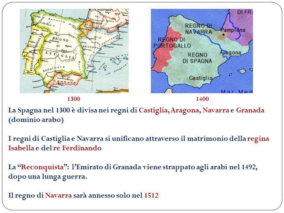 La Spagna nel 1300 è divisa nei regni di Castiglia, Aragona, Navarra e Granada (dominio arabo) I regni di Castiglia e Navarra si unificano attraverso