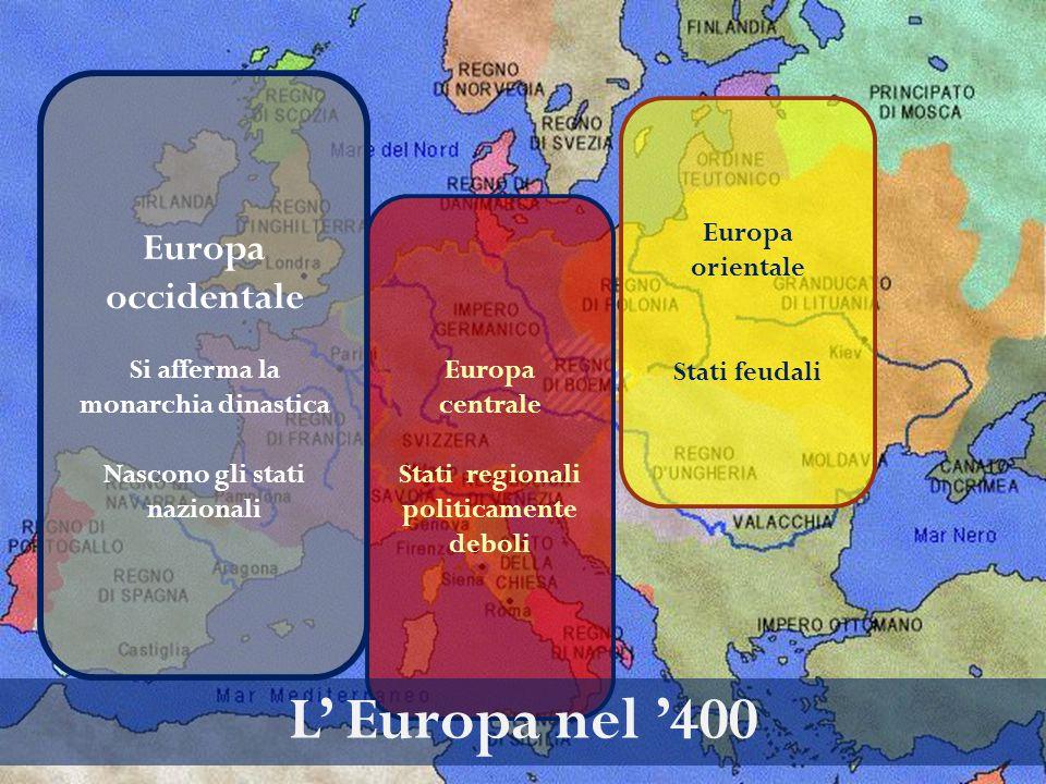 Europa occidentale Si afferma la monarchia dinastica Nascono gli stati nazionali Europa centrale Stati regionali politicamente deboli L' Europa nel '4