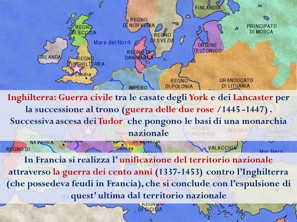 La Spagna nel 1300 è divisa nei regni di Castiglia, Aragona, Navarra e Granada (dominio arabo) I regni di Castiglia e Navarra si unificano attraverso il matrimonio della regina Isabella e del re Ferdinando La Reconquista : l'Emirato di Granada viene strappato agli arabi nel 1492, dopo una lunga guerra.