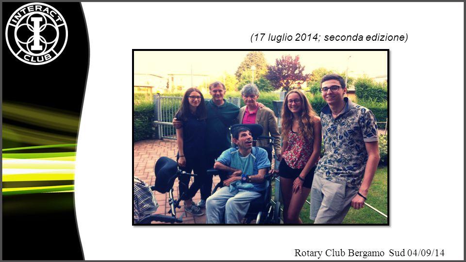 Rotary Club Bergamo Sud 04/09/14 Riconoscimenti Consegna ad Interact Club Bergamo dell'attestato di presidenza assegnato per i meriti dell'anno interactiano 2013-2014 e firmato dal governatore e dal presidente di Rotary International.