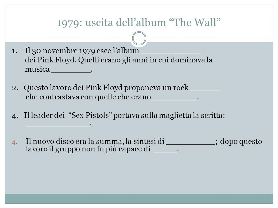 1979: uscita dell'album The Wall 1.Il 30 novembre 1979 esce l'album The Wall dei Pink Floyd.