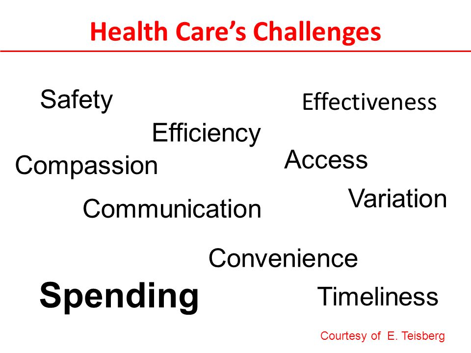Health Care's Challenges Effectiveness Efficiency Convenience Safety Timeliness Compassion Spending Communication Variation Access Courtesy of E.