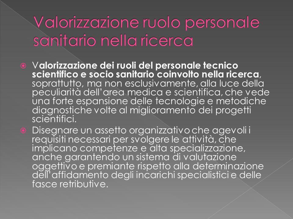  V alorizzazione dei ruoli del personale tecnico scientifico e socio sanitario coinvolto nella ricerca, soprattutto, ma non esclusivamente, alla luce