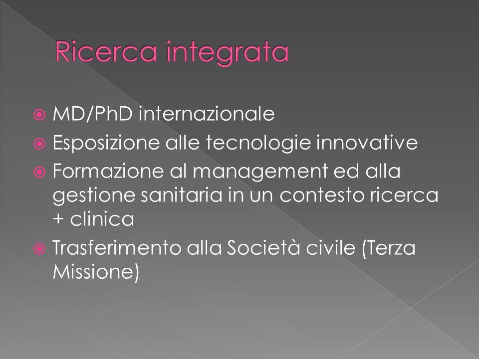  MD/PhD internazionale  Esposizione alle tecnologie innovative  Formazione al management ed alla gestione sanitaria in un contesto ricerca + clinica  Trasferimento alla Società civile (Terza Missione)