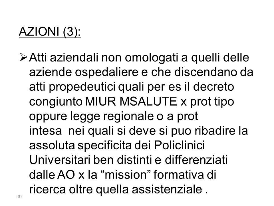 39 AZIONI (3):  Atti aziendali non omologati a quelli delle aziende ospedaliere e che discendano da atti propedeutici quali per es il decreto congiun