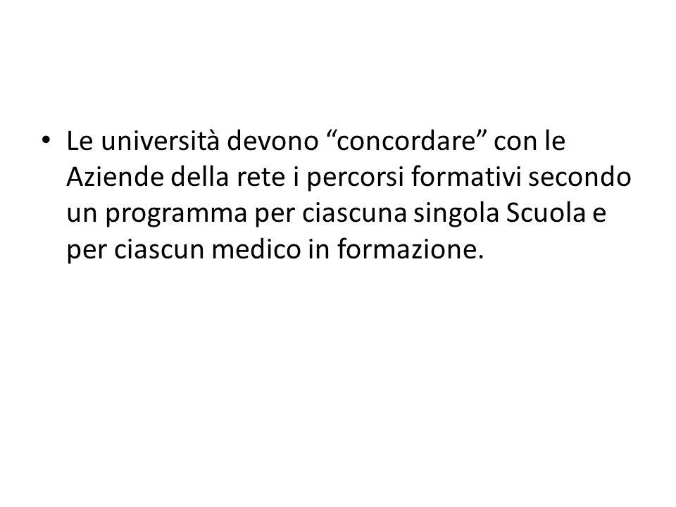 Le università devono concordare con le Aziende della rete i percorsi formativi secondo un programma per ciascuna singola Scuola e per ciascun medico in formazione.
