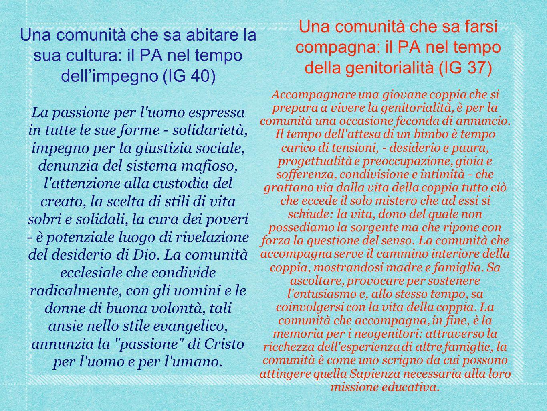 Una comunità che sa abitare la sua cultura: il PA nel tempo dell'impegno (IG 40) La passione per l'uomo espressa in tutte le sue forme - solidarietà,