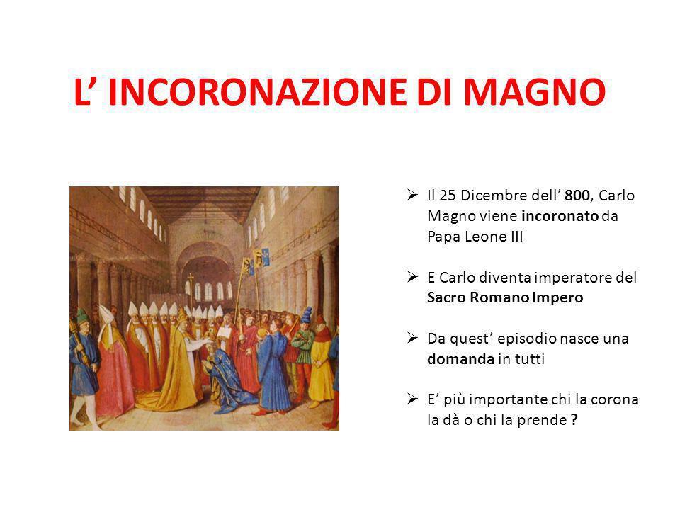 L' INCORONAZIONE DI MAGNO  Il 25 Dicembre dell' 800, Carlo Magno viene incoronato da Papa Leone III  E Carlo diventa imperatore del Sacro Romano Imp