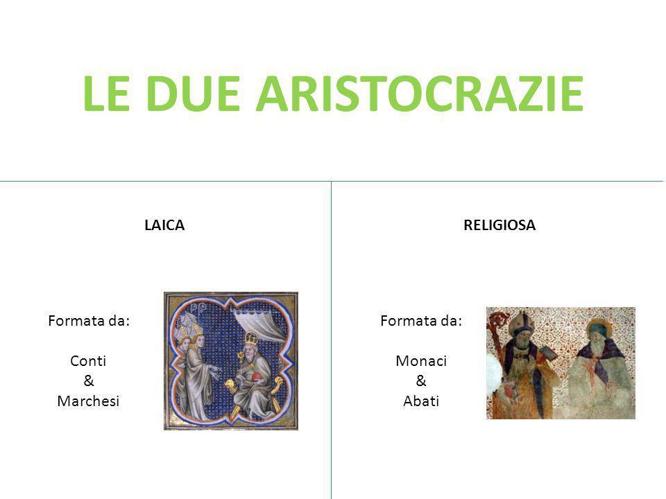 LE DUE ARISTOCRAZIE LAICARELIGIOSA Formata da: Conti & Marchesi Formata da: Monaci & Abati
