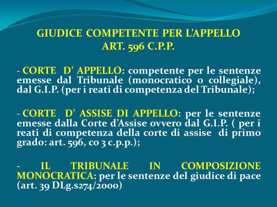GIUDICE COMPETENTE PER L'APPELLO ART. 596 C.P.P. - CORTE D' APPELLO: competente per le sentenze emesse dal Tribunale (monocratico o collegiale), dal G