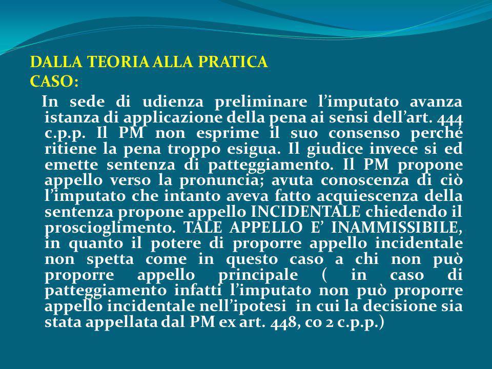 DALLA TEORIA ALLA PRATICA CASO: In sede di udienza preliminare l'imputato avanza istanza di applicazione della pena ai sensi dell'art. 444 c.p.p. Il P