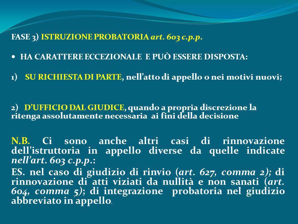 FASE 3) ISTRUZIONE PROBATORIA art. 603 c.p.p. HA CARATTERE ECCEZIONALE E PUÒ ESSERE DISPOSTA: 1) SU RICHIESTA DI PARTE, nell'atto di appello o nei mot