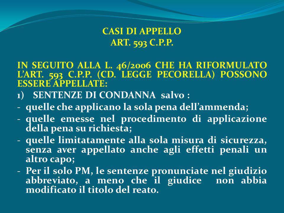 CASI DI APPELLO ART. 593 C.P.P. IN SEGUITO ALLA L. 46/2006 CHE HA RIFORMULATO L'ART. 593 C.P.P. (CD. LEGGE PECORELLA) POSSONO ESSERE APPELLATE: 1) SEN