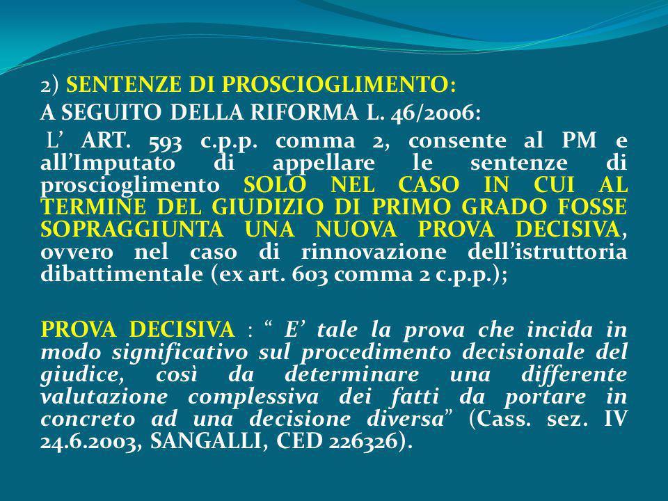 2) SENTENZE DI PROSCIOGLIMENTO: A SEGUITO DELLA RIFORMA L. 46/2006: L' ART. 593 c.p.p. comma 2, consente al PM e all'Imputato di appellare le sentenze