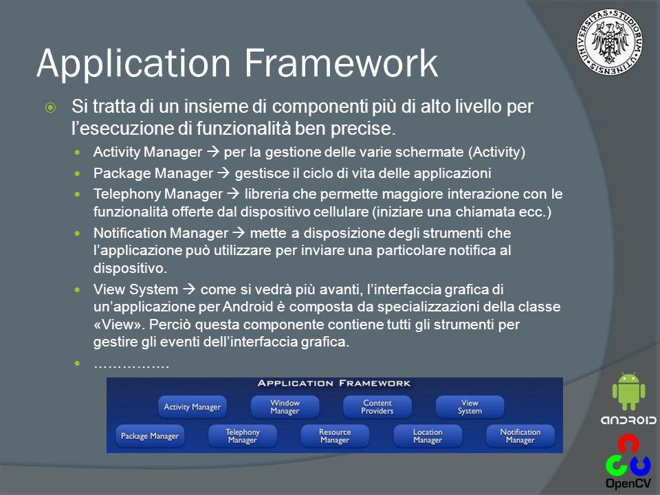 Application Framework  Si tratta di un insieme di componenti più di alto livello per l'esecuzione di funzionalità ben precise.