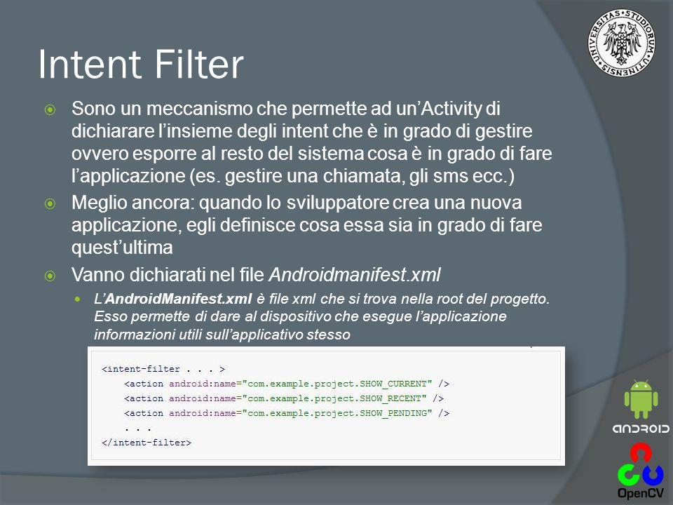 Intent Filter  Sono un meccanismo che permette ad un'Activity di dichiarare l'insieme degli intent che è in grado di gestire ovvero esporre al resto del sistema cosa è in grado di fare l'applicazione (es.