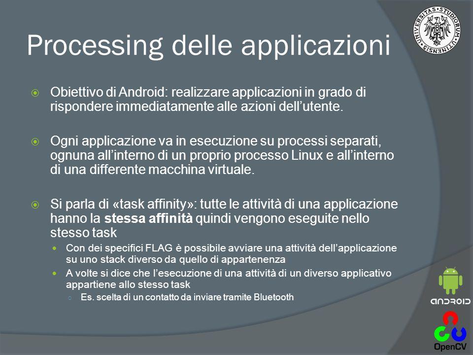 Processing delle applicazioni  Obiettivo di Android: realizzare applicazioni in grado di rispondere immediatamente alle azioni dell'utente.