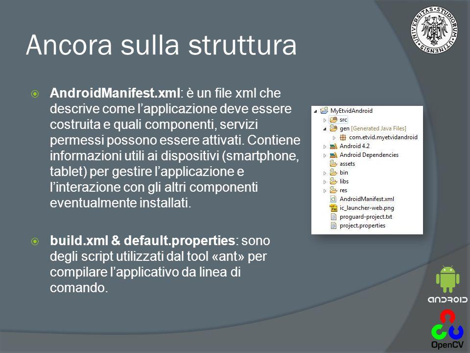 Ancora sulla struttura  AndroidManifest.xml: è un file xml che descrive come l'applicazione deve essere costruita e quali componenti, servizi permessi possono essere attivati.