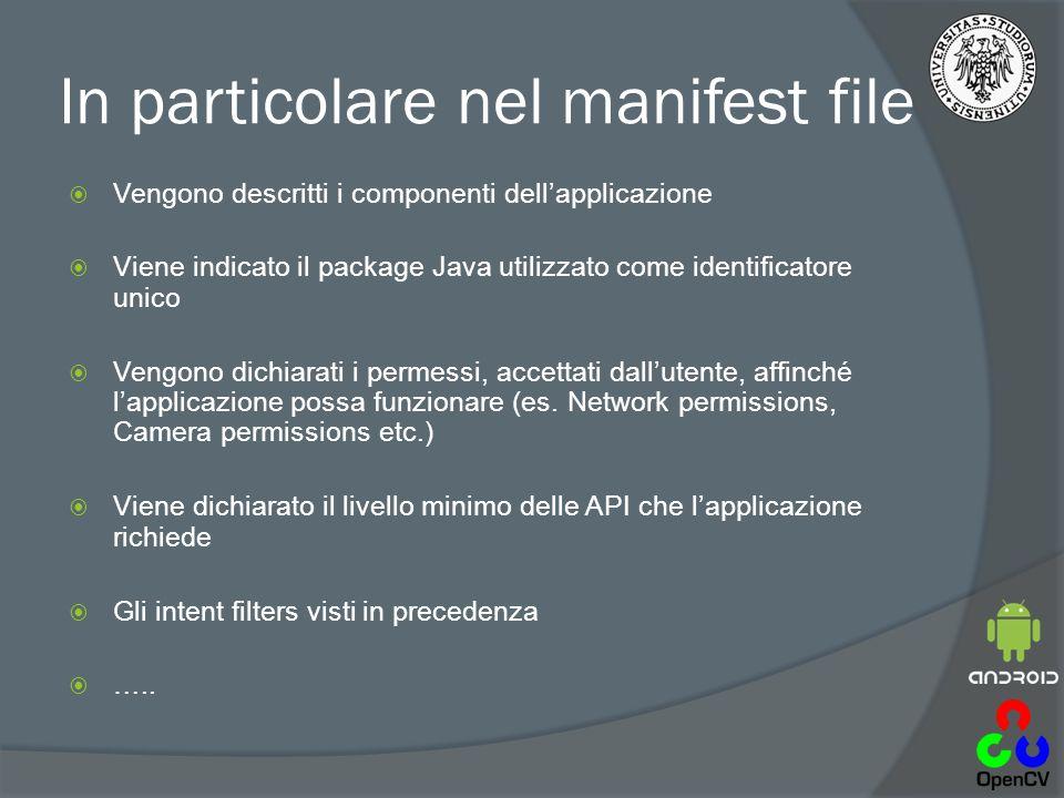In particolare nel manifest file  Vengono descritti i componenti dell'applicazione  Viene indicato il package Java utilizzato come identificatore unico  Vengono dichiarati i permessi, accettati dall'utente, affinché l'applicazione possa funzionare (es.