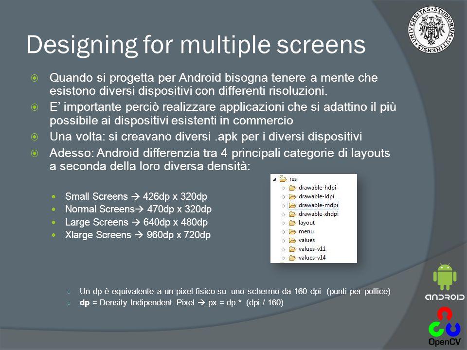 Designing for multiple screens  Quando si progetta per Android bisogna tenere a mente che esistono diversi dispositivi con differenti risoluzioni.
