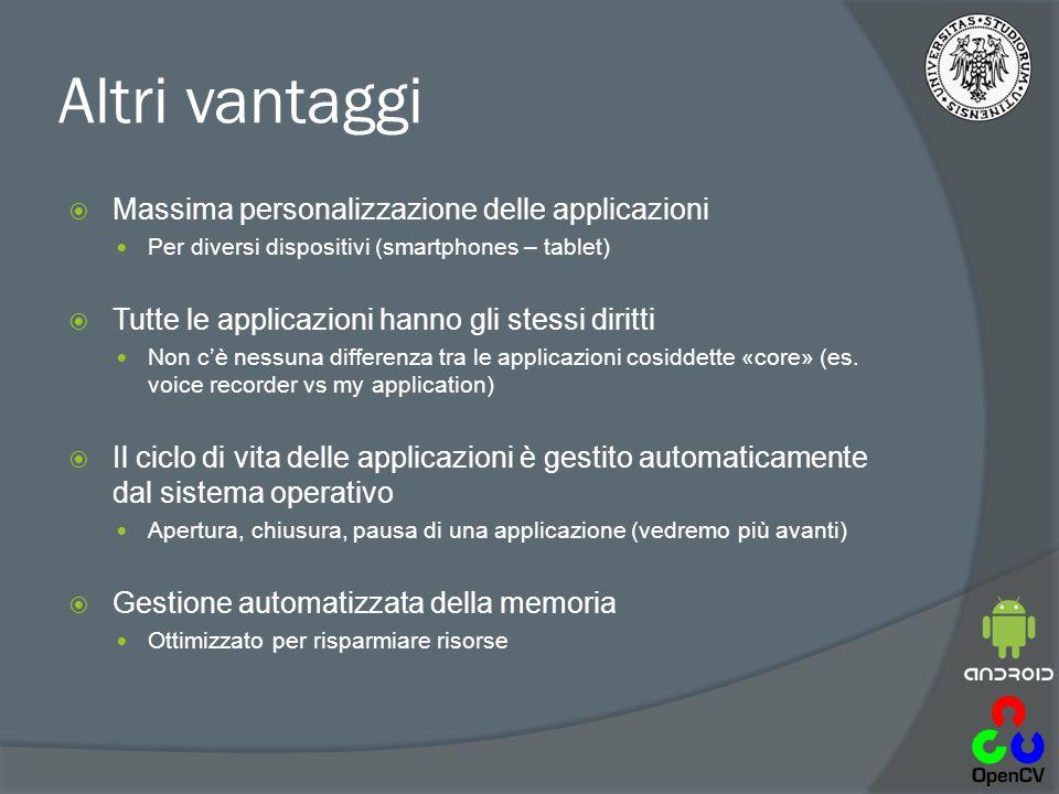 Altri vantaggi  Massima personalizzazione delle applicazioni Per diversi dispositivi (smartphones – tablet)  Tutte le applicazioni hanno gli stessi diritti Non c'è nessuna differenza tra le applicazioni cosiddette «core» (es.