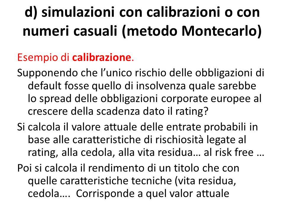 d) simulazioni con calibrazioni o con numeri casuali (metodo Montecarlo) Esempio di calibrazione.