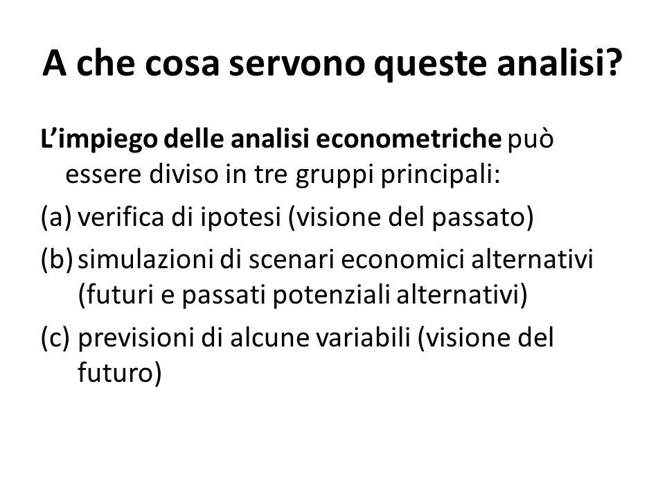 A che cosa servono queste analisi? L'impiego delle analisi econometriche può essere diviso in tre gruppi principali: (a)verifica di ipotesi (visione d