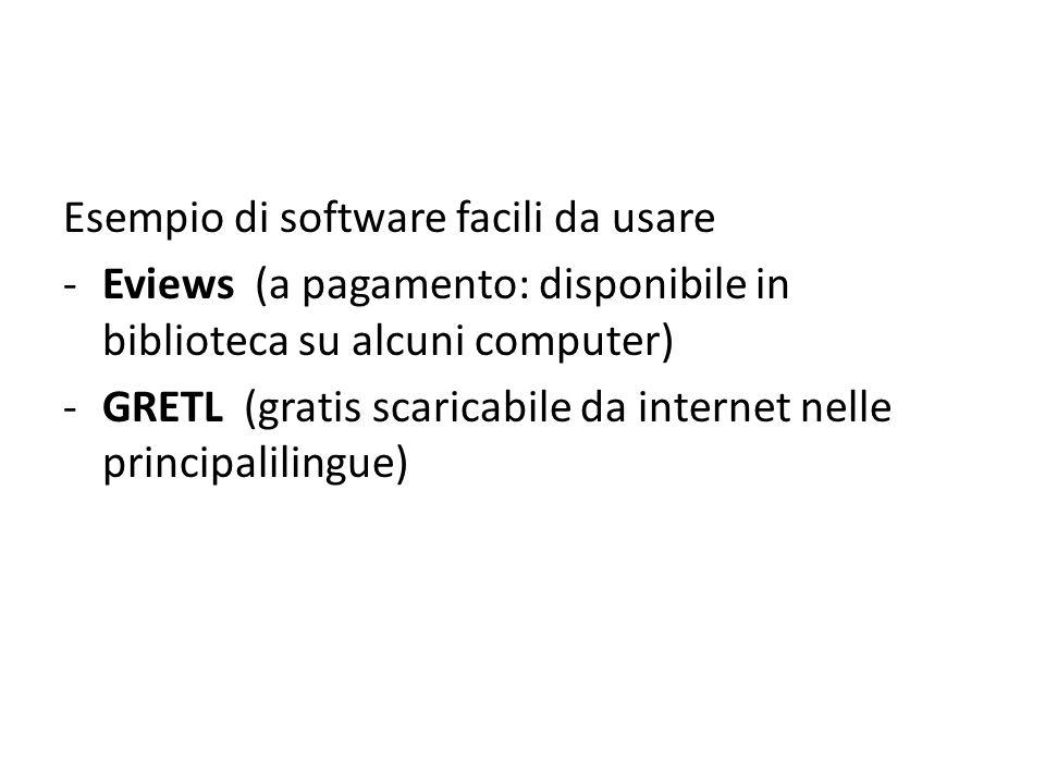 Esempio di software facili da usare -Eviews (a pagamento: disponibile in biblioteca su alcuni computer) -GRETL (gratis scaricabile da internet nelle principalilingue)