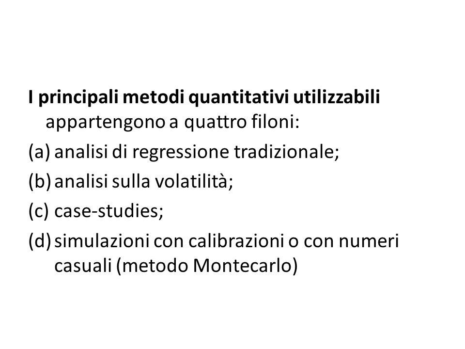 I principali metodi quantitativi utilizzabili appartengono a quattro filoni: (a)analisi di regressione tradizionale; (b)analisi sulla volatilità; (c)case-studies; (d)simulazioni con calibrazioni o con numeri casuali (metodo Montecarlo)