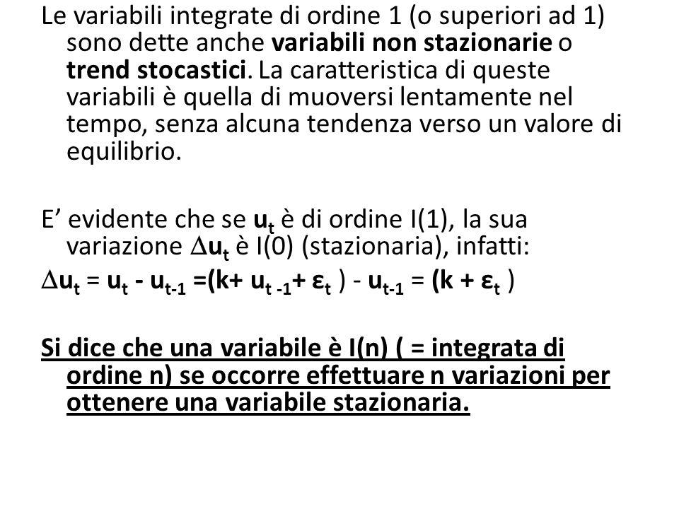 Le variabili integrate di ordine 1 (o superiori ad 1) sono dette anche variabili non stazionarie o trend stocastici. La caratteristica di queste varia