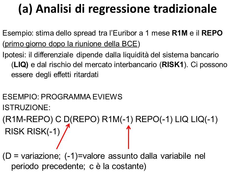(a) Analisi di regressione tradizionale Esempio: stima dello spread tra l'Euribor a 1 mese R1M e il REPO (primo giorno dopo la riunione della BCE) Ipotesi: il differenziale dipende dalla liquidità del sistema bancario (LIQ) e dal rischio del mercato interbancario (RISK1).