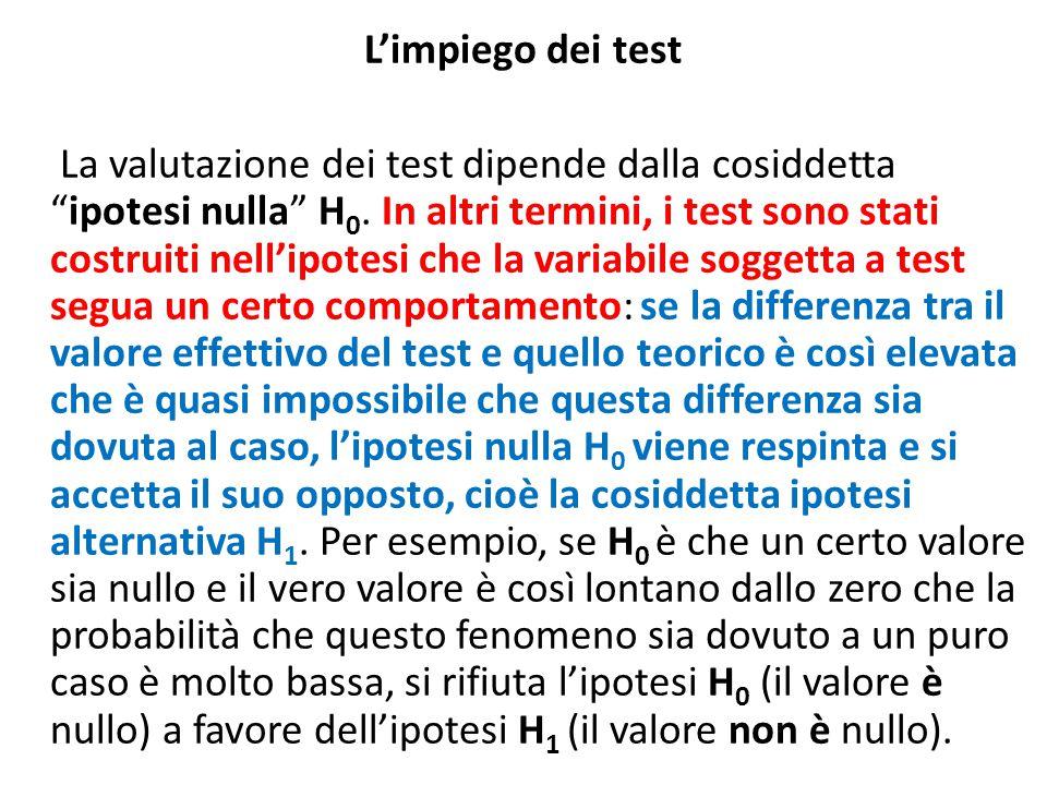 """L'impiego dei test La valutazione dei test dipende dalla cosiddetta """"ipotesi nulla"""" H 0. In altri termini, i test sono stati costruiti nell'ipotesi ch"""