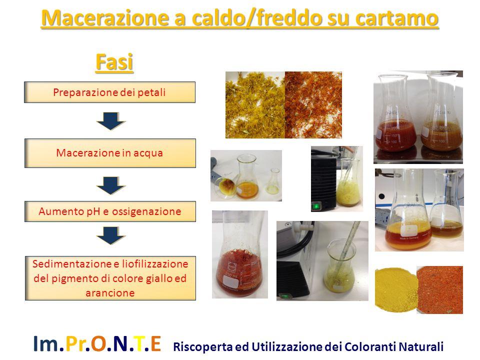 Im.Pr.O.N.T.E Riscoperta ed Utilizzazione dei Coloranti Naturali Fasi Preparazione dei petali Macerazione in acqua Aumento pH e ossigenazione Sedimentazione e liofilizzazione del pigmento di colore giallo ed arancione Macerazione a caldo/freddo su cartamo
