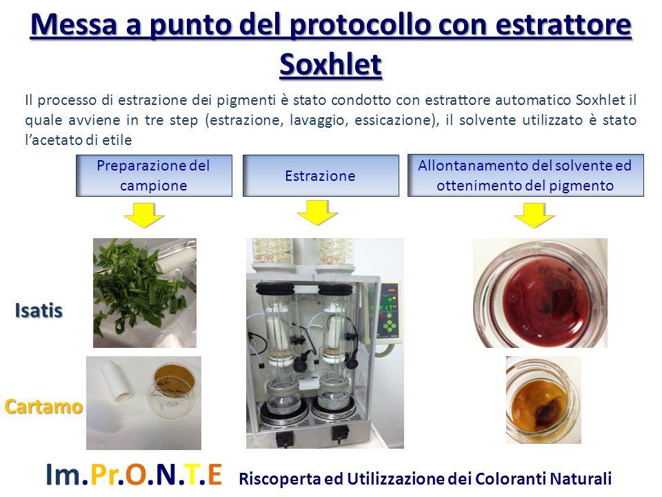 Im.Pr.O.N.T.E Riscoperta ed Utilizzazione dei Coloranti Naturali Messa a punto del protocollo con estrattore Soxhlet Il processo di estrazione dei pig