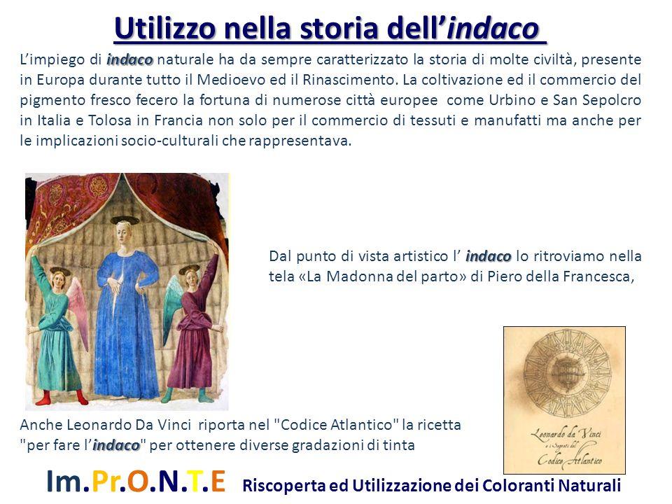 Im.Pr.O.N.T.E Riscoperta ed Utilizzazione dei Coloranti Naturali Conosciuto anche dagli Arabi e dai Greci ma si hanno notizie sulla sua coltura anche in Italia.