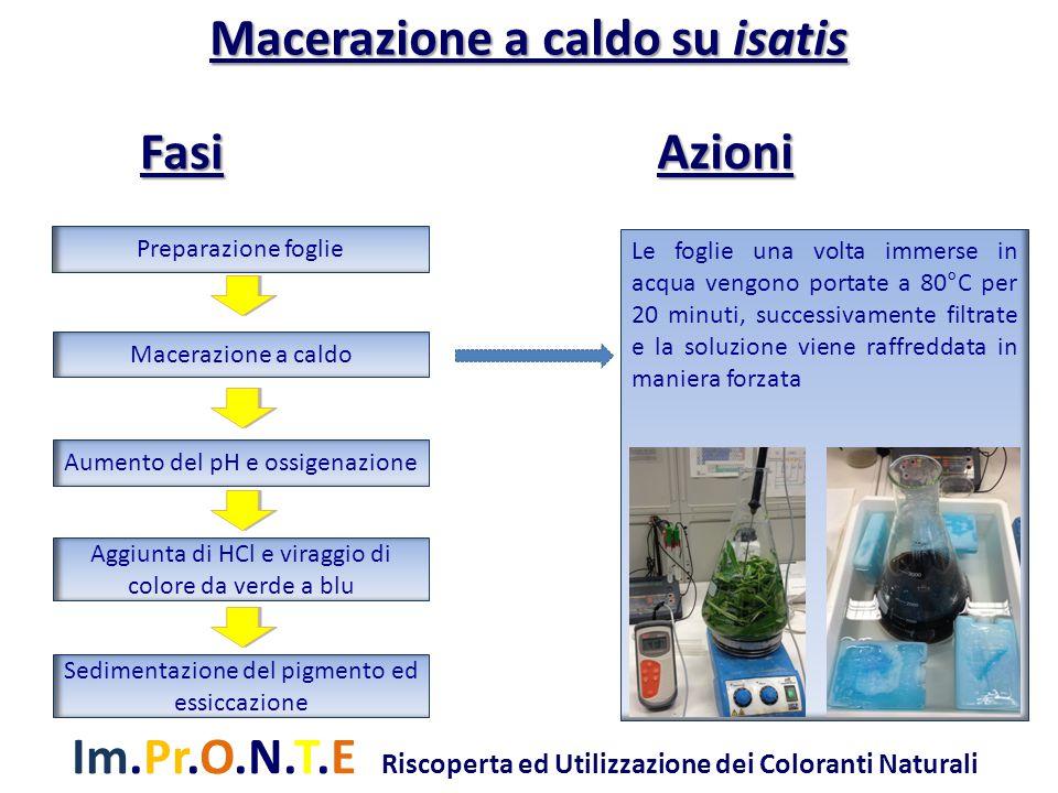 Im.Pr.O.N.T.E Riscoperta ed Utilizzazione dei Coloranti Naturali Una volta raffreddata la soluzione si aggiunga una soluzione di Idrossido di calcio per aumentare il pH fino a 9 - 10 e si insuffla aria per circa 2 ore il quale favorisce la precipitazione del pigmento Preparazione foglie Macerazione a caldo Aumento del pH e ossigenazione Aggiunta di HCl e viraggio di colore da verde a blu Sedimentazione del pigmento ed essiccazione Macerazione a caldo su isatis Azioni Fasi